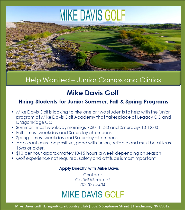 Flyer for job opportunity at Mike Davis Golf Academy